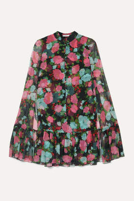 Erdem Constantine Cape-effect Tiered Floral-print Silk-chiffon Mini Dress - Black