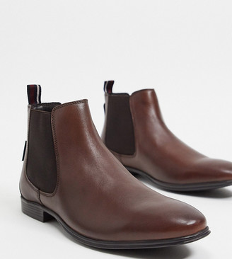 Ben Sherman wide fit chelsea boots in brown leather