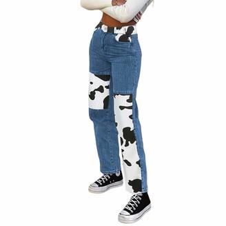 ICNGLKSND Women's Patchwork Jeans High Waist Zebra-Stripe Color Block Straight Wide Leg Pants Denim Trousers (Blue M)