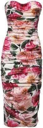 Dolce & Gabbana Camelia Print Stretch Silk Midi Dress