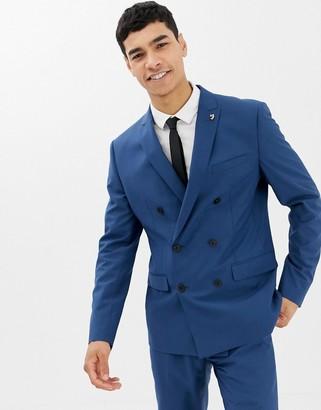 Farah Smart Henderson skinny fit double breasted suit jacket in blue