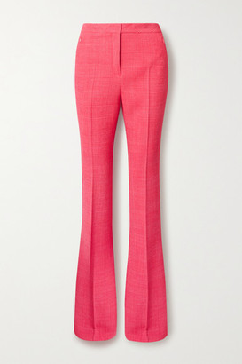 Akris Checked Wool-blend Flared Pants - Bubblegum