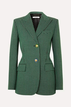 Givenchy Belted Checked Wool Blazer - Green