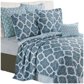 Serenta Honor Quilted 7 Piece Bed Spread Set, Blue, King