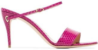 Jennifer Chamandi Andrea 70mm snake-effect sandals