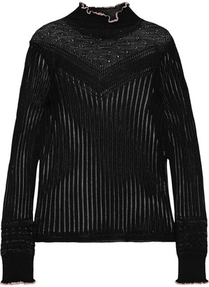 Rag & Bone Breanne Ruffle-trimmed Pointelle-knit Sweater