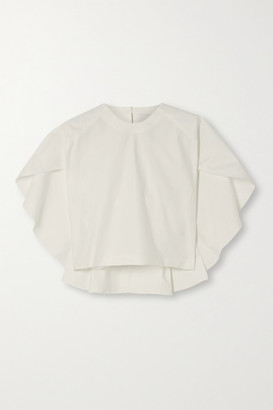 KING & TUCKFIELD Cape-effect Organic Cotton-twill Top - White
