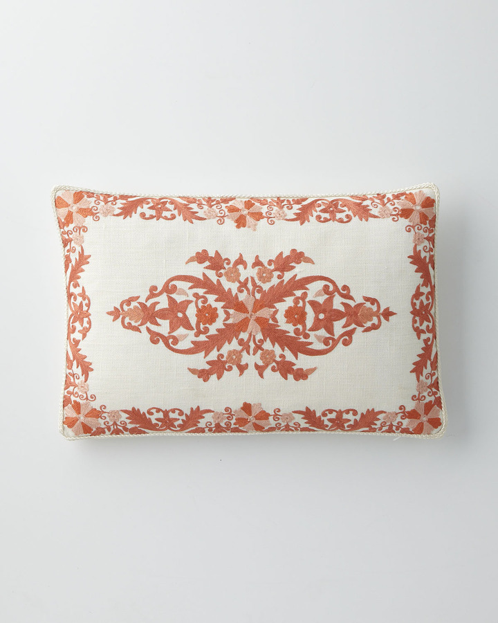 "Horchow Pillow with Center Keshte Motif & Border,12"" x 18"""