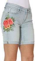 Driftwood Floral Embroidered Cuffed Bermuda Shorts