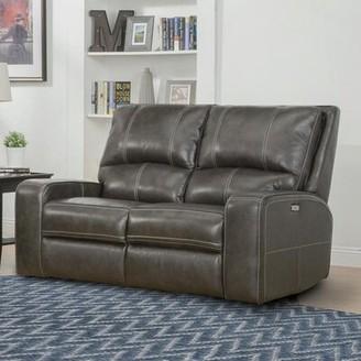 Latitude Run Suez Leather Reclining Loveseat Upholstery Color: Iron Gray
