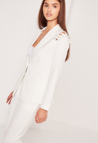 Missguided Lace Up Shoulder Blazer White