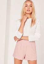 Missguided Scallop Hem High Waisted Shorts Blush Pink