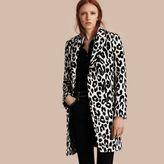 Burberry Leopard Jacquard Lama Wool Coat