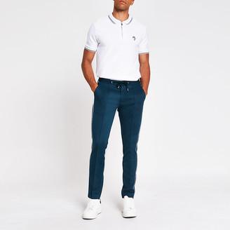 River Island White slim fit short sleeve polo