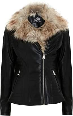 Wallis Black Faux Fur Collar Lined Biker Jacket
