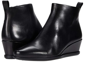 Ecco Shape 45 Wedge Ankle Boot (Black Cow Leather) Women's Shoes