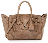 Ralph Lauren Ricky 27 Embroidered Suede Satchel Bag, Taupe