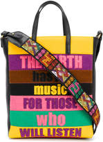 Etro patchwork slogan bag