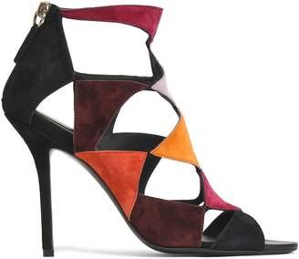 Roger Vivier Cutout Color-block Suede Sandals