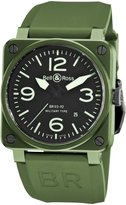 Bell & Ross Men's BR-03-92-MILITARY CERAMIC Aviation Dial and Green Strap Watch Watch