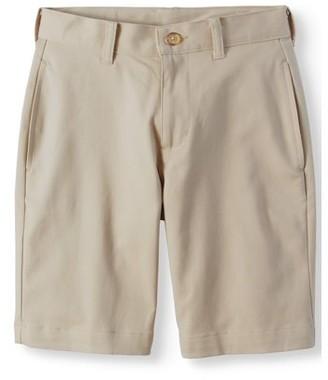 Wonder Nation Boys School Uniform Super Soft Flat Front Shorts, Sizes 4-22, Slim, & Husky