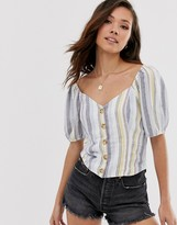 Abercrombie & Fitch button through stripe linen shirt