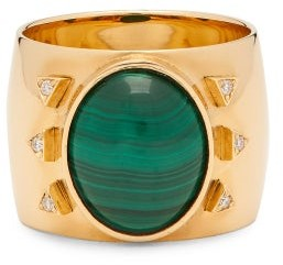 Mukhi Sisters - The Brightness Diamond, Malachite & 18kt Gold Ring - Green Gold