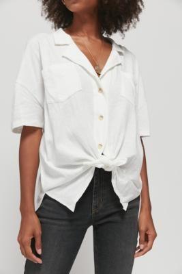 Urban Outfitters Iris Button-Through Shirt - White XS at