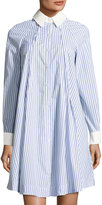 Neiman Marcus Striped Swing Shirtdress, White