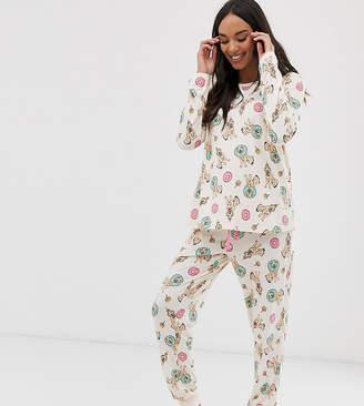 Chelsea Peers Maternity birthday dog donut print long pyjama set-Pink