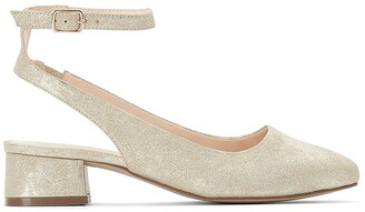 La Redoute Collections Metallic Heeled Ballet Pumps with Ankle Strap