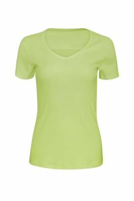 ChicWhisper Ladies Pure 100% Cotton V-Neck Top Short Sleeve T Shirt Sea Green