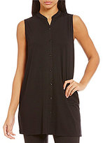 Eileen Fisher Mandarin Collar Sleeveless Tee