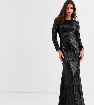 Club L London Tall sequin open back fishtail maxi dress in black