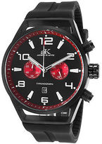 Adee Kaye AK7232-MIPB-RD Men's Raven Chronograph Black Silicone and Dial Red