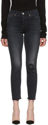RE/DONE Black High Rise Ankle Crop Jeans