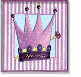 Stupell Industries The Kids Room by Stupell Princess Crown with Stripes and Polka Dots Rectangle Wall Plaque