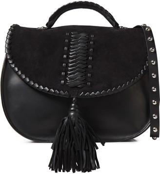 Red(V) Whipstitched Leather And Suede Shoulder Bag