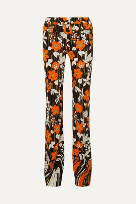 Prada Floral-print Crepe Straight-leg Pants - Orange