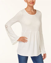 Style&Co. Style & Co Lace-Trim Babydoll Top, Created for Macy's