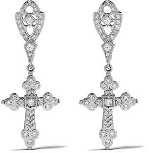 Loree Rodkin 18kt White Gold Diamond Cross Drop Earrings