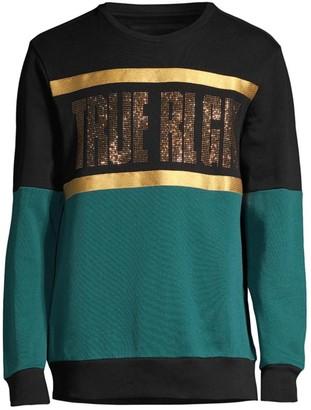 True Religion Embellished Colorblock Sweatshirt
