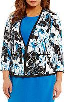 Kasper Plus Abstract Floral Crepe Jacket
