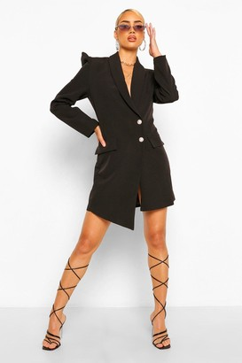 boohoo Puff Sleeve Asymmetric Blazer Dress