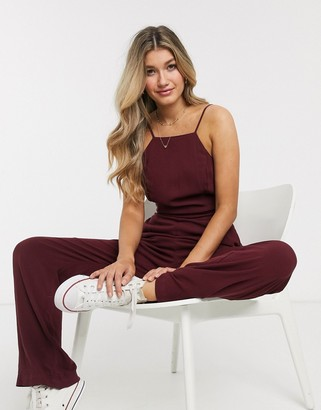 Abercrombie & Fitch bow back jumpsuit-Red