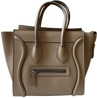 Celine Luggage Ecru Leather Handbags