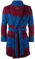 Mp Massimo Piombo striped belted robe coat