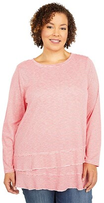Mod-o-doc Plus Size Slub Jersey Asymmetrical Long Sleeve Flounce Hem Tee (Coral) Women's Clothing