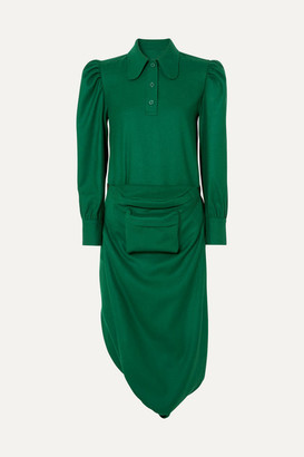 pushBUTTON Belt Bag-detailed Draped Wool-crepe Midi Dress - Green