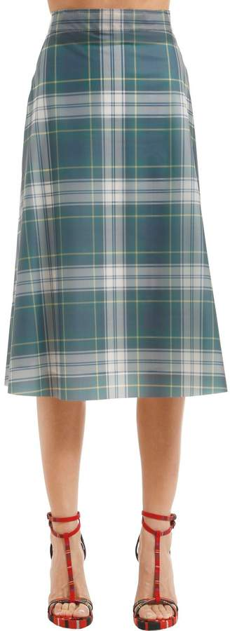 Burberry Ss18 Check Printed Midi Skirt